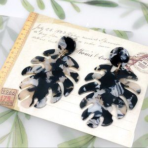 Black Resin Acrylic Bohemian Leaf Earrings
